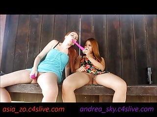 C4S Live Andrea Sky Und Asia Zo öffentliche Park Masturbation