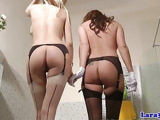 Lesbian von Studio Private Laras Playground Lara Latex Strümpfe milf sechzigining Dessous babe